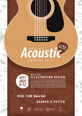Guitar, Musical instrument design realistic style and A4 poster
