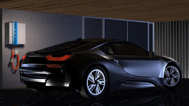 Elektroauto in einer Garage mit privater Ladestation