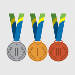 Vector trophy for winners medals: gold, silver, bronze medal.