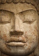 Face of stone Buddha statue