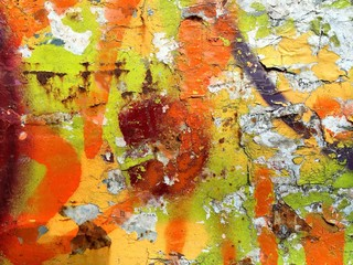 Abstract painting on wall and dirty as background texture