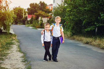 two elementary school students with books. Behind the boy's school backpack.