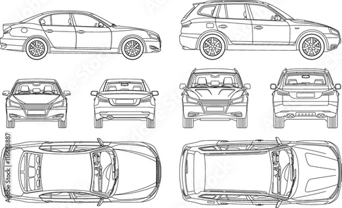 Quot Car Sedan And Suv Line Draw Four All View Top Side Back