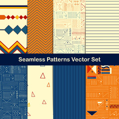 Set of eight seamless geometric patterns with ethnic and tribal style ornament elements.