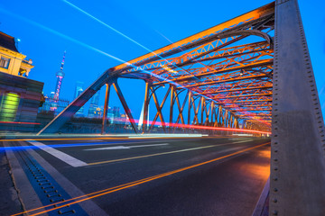 blurred light trails at waibaidu bridge,shanghai china.
