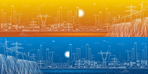 Wall Mural - Hydro power plant, energy lines, industrial panoramic, infrastructure, day and night, vector design art