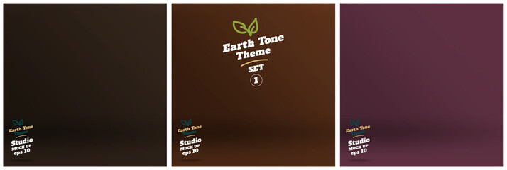 Vector,set of Empty earth tone brown color lighting studio room
