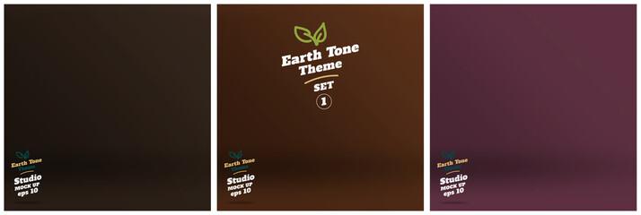 Vector,set of Empty earth tone brown color lighting studio room