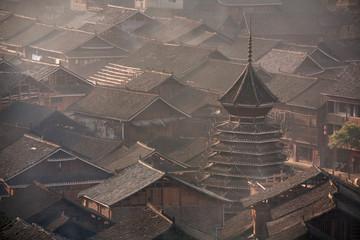 Photo sur Plexiglas Chine Drum Tower in village of Dong ethnic minority, southwest China.