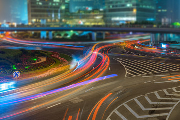 Fotomurales - light trails at downtown district,shanghai china.