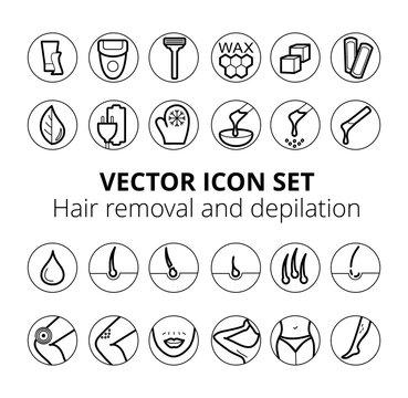 Thin lines web icon set - Depilation and epilation. Sugaring, waxing, photoepilation, hair removing. Allergy, skin irritation, pain icons.