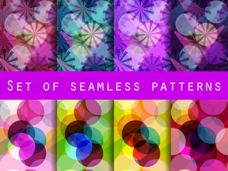 Seamless pattern of transparent geometric shapes. A set of abstract designs. Vector illustration.