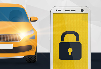Car security vector illustration, mobile remote lock control for car concept