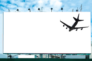 Airplane with blank white large billboard advertise