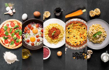 Natural food collage (plates on the black chalkboard)