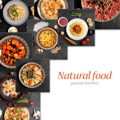 Food collage (top view with copy space)