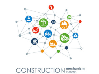 Construction network. Hexagon abstract background with lines, polygons, and integrated flat icons. Connected symbols for build, industry, architectural, engineering concepts. Vector.