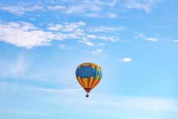 Multicolored balloons in the sky