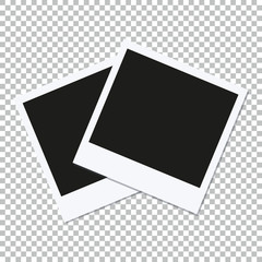 Two empty vector square photo frames on transparent background.