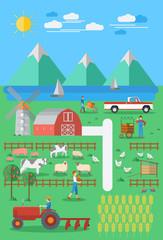 Flat design, Organic farming.