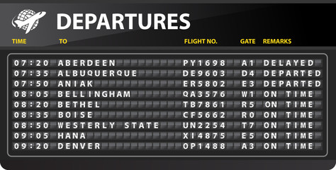 Airport mechanical time table departures