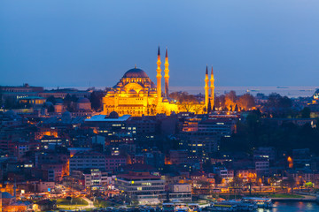 View of Istanbul from the sea at dusk. Mosque in the old town with night illumination of facades on the background of urban development. Travel Turkey.