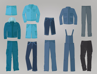Male denim clothing in flat design