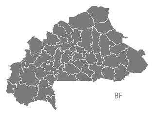 Burkina Faso provinces Map grey