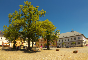 Square in Town of Kasperske Hory, Bohemia