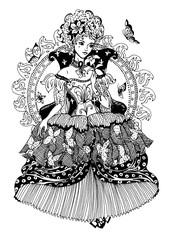 Elegant beautiful princess with butterflies. Digital stamp.