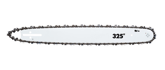 The tire chain for chain saws. isolated