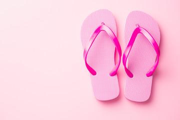 Pink flip flops.
