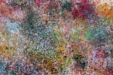 Абстрактное изображение из мелкой цветной стружки пастели, покрытое сверху лаком