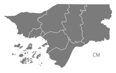 Guinea-Bissau regions Map grey