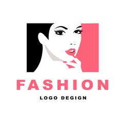 Fashion girl with black hair. Logo