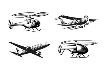 Air transport illustration. Black silhouette
