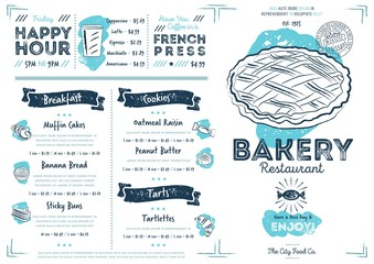 Restaurant bakery cafe menu template flyer vintage design vector illustration