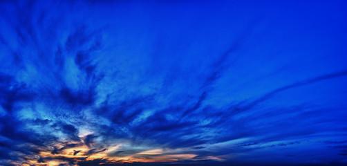 Panorama dark colored sky at sunset.
