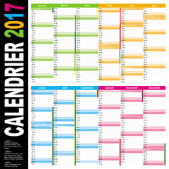 calendrier français 2017 multicolore