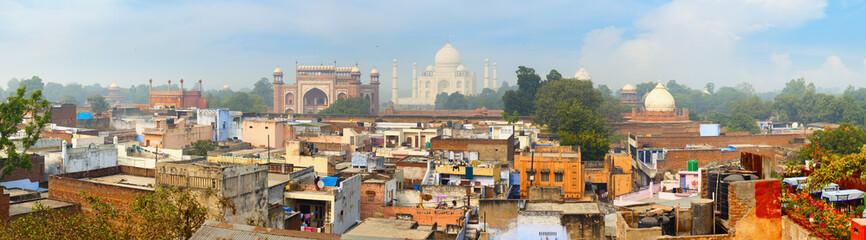 Panorama of the ancient Agra city. The famous mausoleum Taj Maha Wall mural