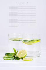 Sassy water. Fresh summer season detox drink.