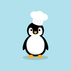 Cute Chef Penguin character with chef cooking hat isolated on sky blue background. Flat design vector illustration.