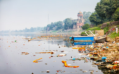 Bank of Yamuna river near Taj Mahal. India, Agra