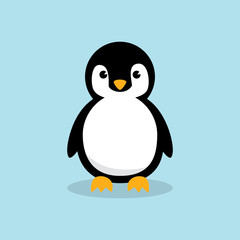 Baby Penguin standing on sky blue background. Cute Penguin cartoon flat design vector illustration.