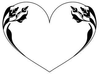Heart-shaped silhouette frames. Vector clip art.