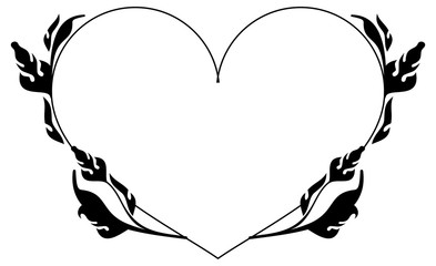 Heart-shaped silhouette frames. Vector clip art.