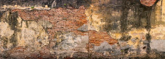 Old, Crumbling, Brick Wall in Georgetown, Penang, Malaysia Wall mural