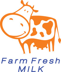 Cute good orange cow as logo element of dairy store.