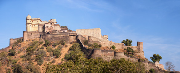 Domed tower and fortified wall of Kumbhalgarh Fortress near Udai