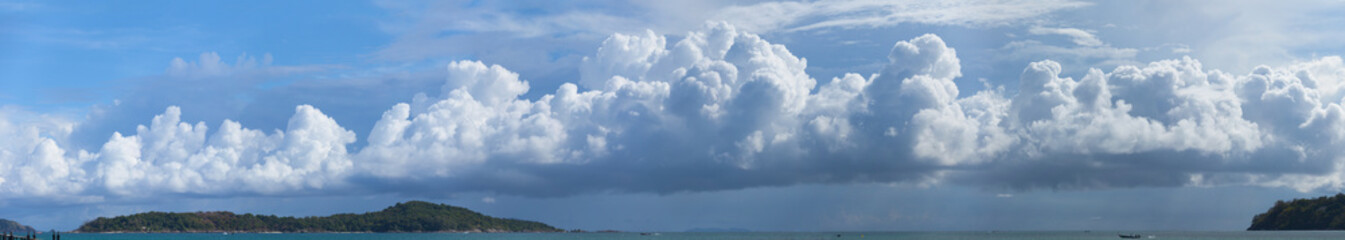 Beautiful Panorama of Storm Clouds Building over a Tropical Para